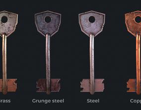 3D model Metal key for the door lock