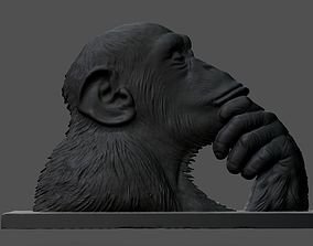Chimpanzee statue 3D printable model obj
