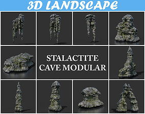 Low poly Stalactite Cave Modular Pack B2 2020 3D model