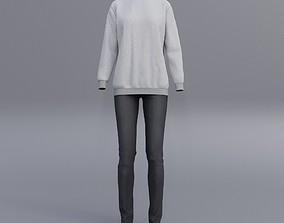 sweatshirts and black denim pants 3D