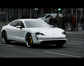3D Porsche Taycan Turbo S electric car