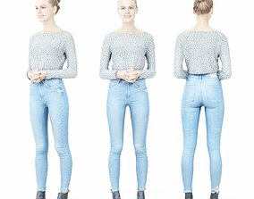 3D asset Jeans Girl in Fluffy White Top Folding Hands