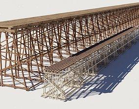 PBR Two models 3D Wood trestle bridge