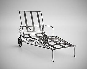 Vintage Wrought Iron Chaise Longue 3D model