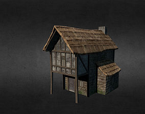 3D asset low-poly residential-building Medieval house