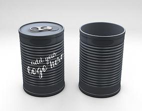 3D Product Tincan Ribbed Metal Tin Can