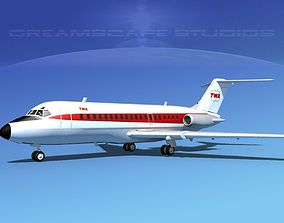 3D model Douglas DC-9-20 Trans World Airways 1
