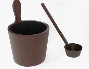 3D Sauna bucket and ladle