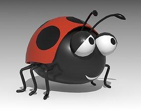 3D asset VR / AR ready Ladybird Toon Animated