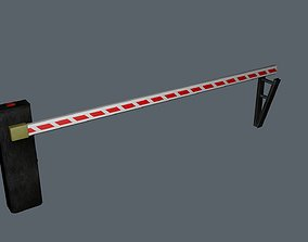 low-poly 3D barrier gate model with 6k textures