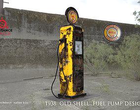 OLD SHELL GASOLINE PUMP DESIGN 3D asset