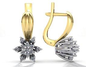 MGold039 Diamond Earrings 3dmodel 3D print ready