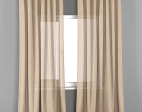 3D model IKEA AINA beige transparent curtains from flax