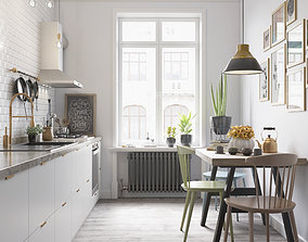 Scandinavian Kitchen 3D Model Vray Settings and PSD File