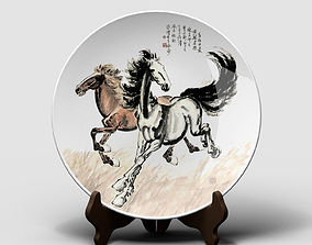 3D asset Chinese Porcelain Dinner Plate - Horse Painting 2