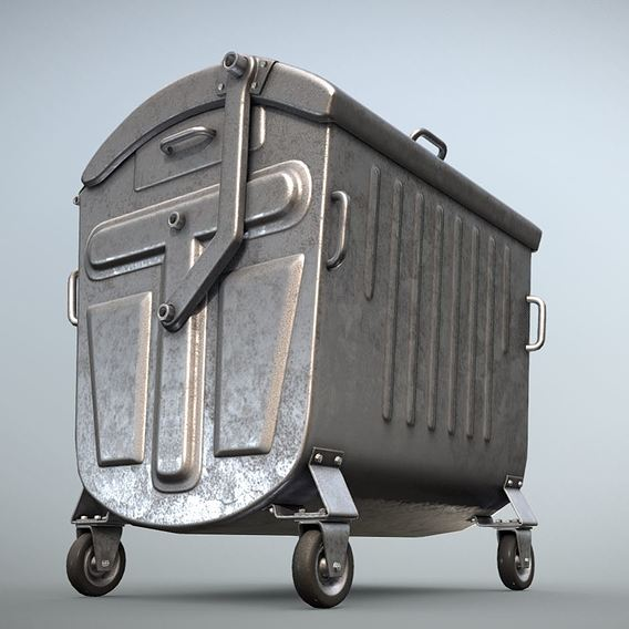 Old Metal Garbage Trash Container (Low-Poly)