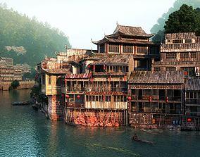 Thai Eastern Building Block On A River 3D model