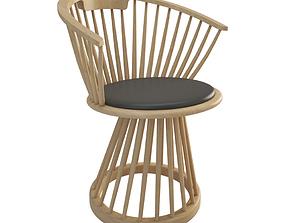 Fan Wooden Chair 3D model