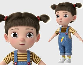 Cartoon Girl NoRig woman 3D model