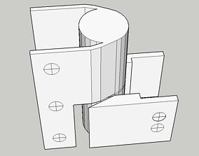 Fixed Closed Bathroom Stall Hinge 3D print model