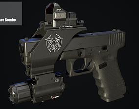 3D model Glock 17 with mount red dot and flashlight and 1