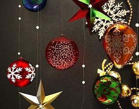 3D model rigged Christmas balls and snowflake set