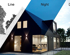 Corona Night and Day modern house scene 3D