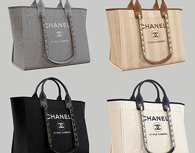 CHANEL Shoper Bag Canvas Deauville Tote 3D