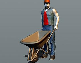 Worker with a wheelbarrow 3D printable model