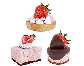 Strawberry dessert collection 3D