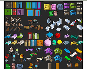 low-poly Cartoon low poly furniture 3d model collection