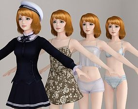 T pose nonrigged model of Lolita with various