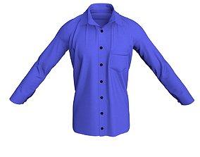 3D model 3 D Men Formal Shirt with Pocket