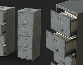 3D model game-ready Old Filing Cabinet