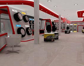 automotive tyre showroom concept 3D model