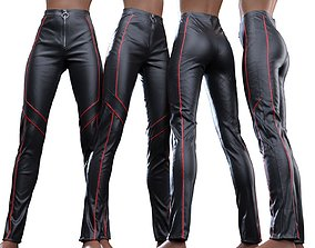 Stripe Pattern Biker Pants 3D