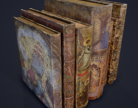 3D asset Medieval Books Row 3 Design 2