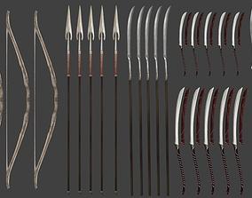 Elf Weapons swords spears bow 3D model