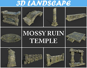 3D model Low poly Mossy Temple Ruin Package 190309