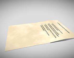 Blank Paper 3D asset VR / AR ready
