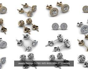 3D model Jewelry Earrings THREE SIZE BIGG GEM 05