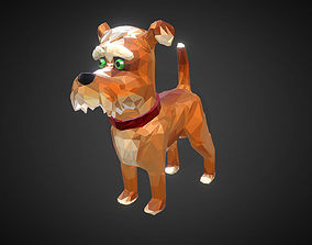 Cartoon Dog Low Polygon Art Farm Animal 3D asset
