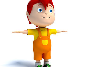 3D model Red Hair Rigged Cartoon Kid Character