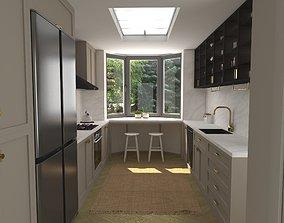 low-poly 3d Model Modern Minimalist Kitchen Scene 3D
