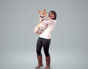 Woman Holding Dog CWom0209-HD2-O01P01-S 3D model