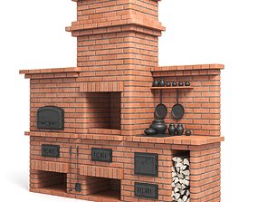 Red Brick Barbecue Oven 3D