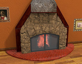 3D model low-poly Fireplace