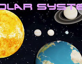 Solar System with all Planets Lowpoly 3D model