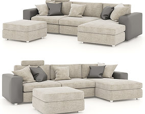 Corner sofa with pouf and pillows 3D model