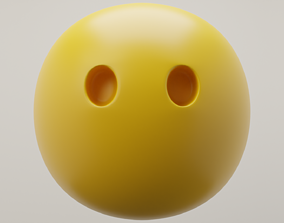 3D model Blank Face Emoji quiet